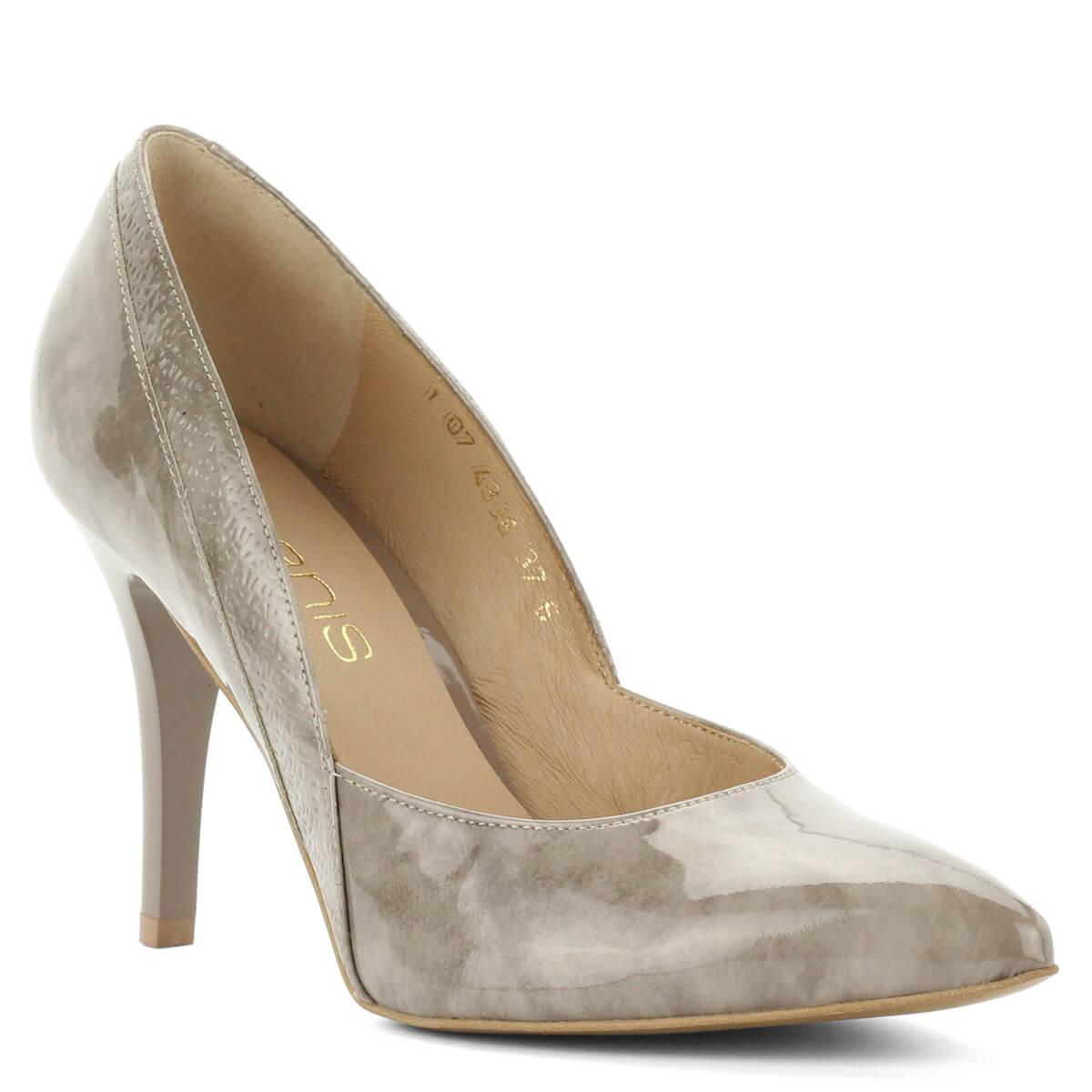 Bézs Anis magas sarkú lakk cipő. Különleges márványos hatású bőrből  készült 5461bfb30b