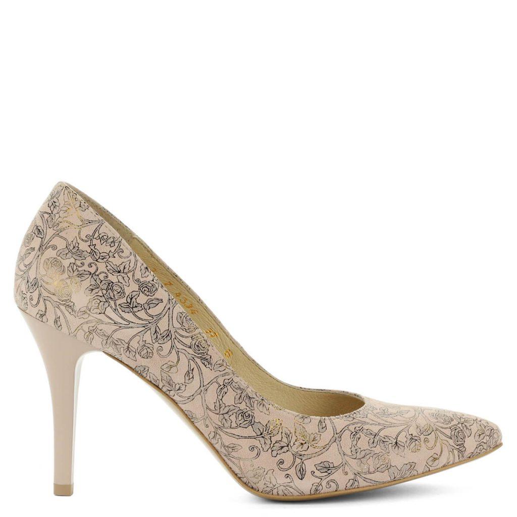 40e225a4ba A cipő megvásárolható webáruházunkban és cipőüzleteinkben Győrben.  Terméklap: https://webshop.chix.hu/noi-cipo /viragmintas-anis-magassarku-4334-rose-flow/