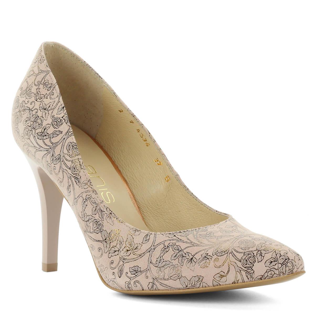 Virágmintás Anis magassarkú bőr cipő. Különleges mintájú felsőrésszel  készült. Kívül belül bőr 827b773ab5