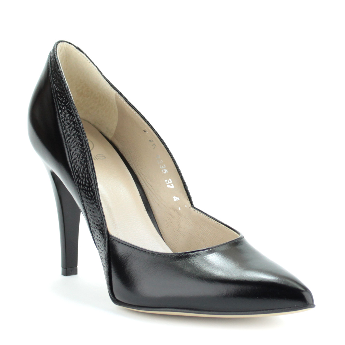 f98348675a3e Anis női cipő. Fekete színű magas sarkú alkalmi cipő. Sarka 9 cm magas.  Felsőrésze és bélése is bőr. Oldalán anyagába nyomott díszítés található.
