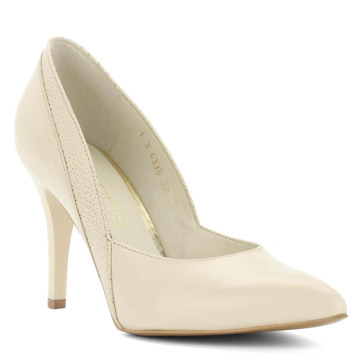 e396f75e5a40 Ekrü színű Anis alkalmi cipő bőr felsőrésszel és bőr béléssel. 9 cm magas  sarokkal készült, anyagában díszített. Márka: Anis Szín: Ekrü Modellszám:  4336 ...