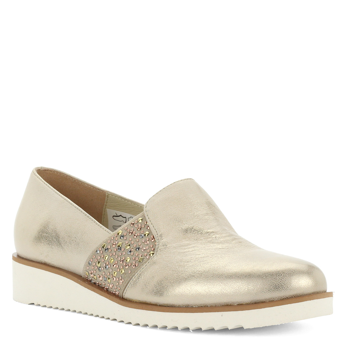 Baldaccini arany bőr slipon fehér gumi talppal. A cipő kívül-belül  természetes bőrből készült 289fcce9ef