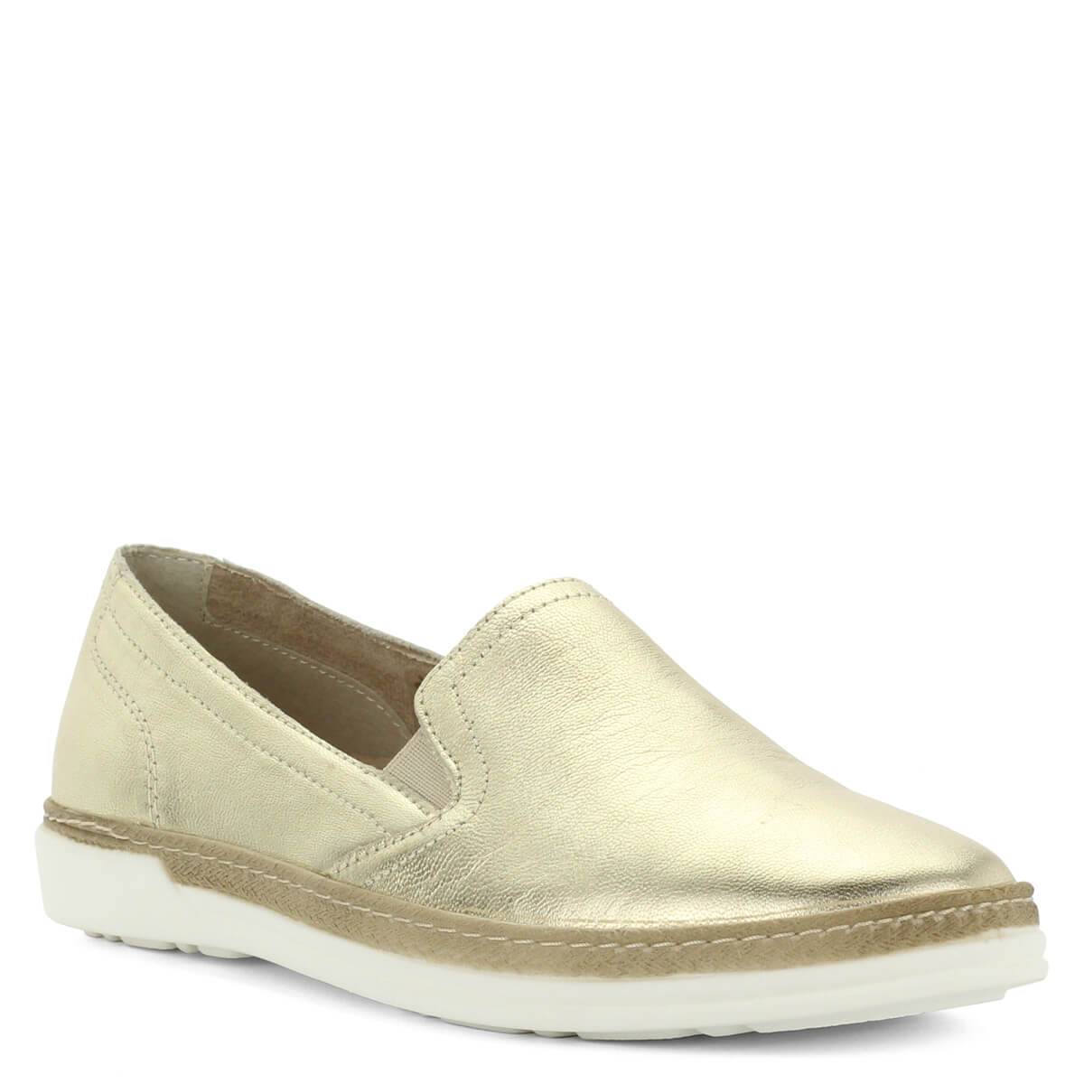 c43accf25f Aeros arany bőr slipon. Kényelmes olasz gyártású, bőrből készült könnyű női  cipő.